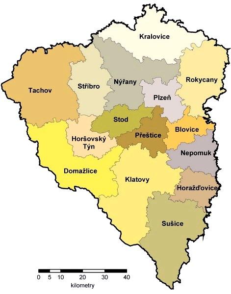 Mapa ORP na území Plzeňského kraje